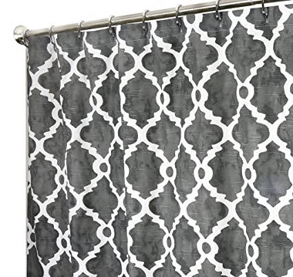 Image Unavailable Not Available For Color Extra Long Shower Curtain Gray Geometric Fabric