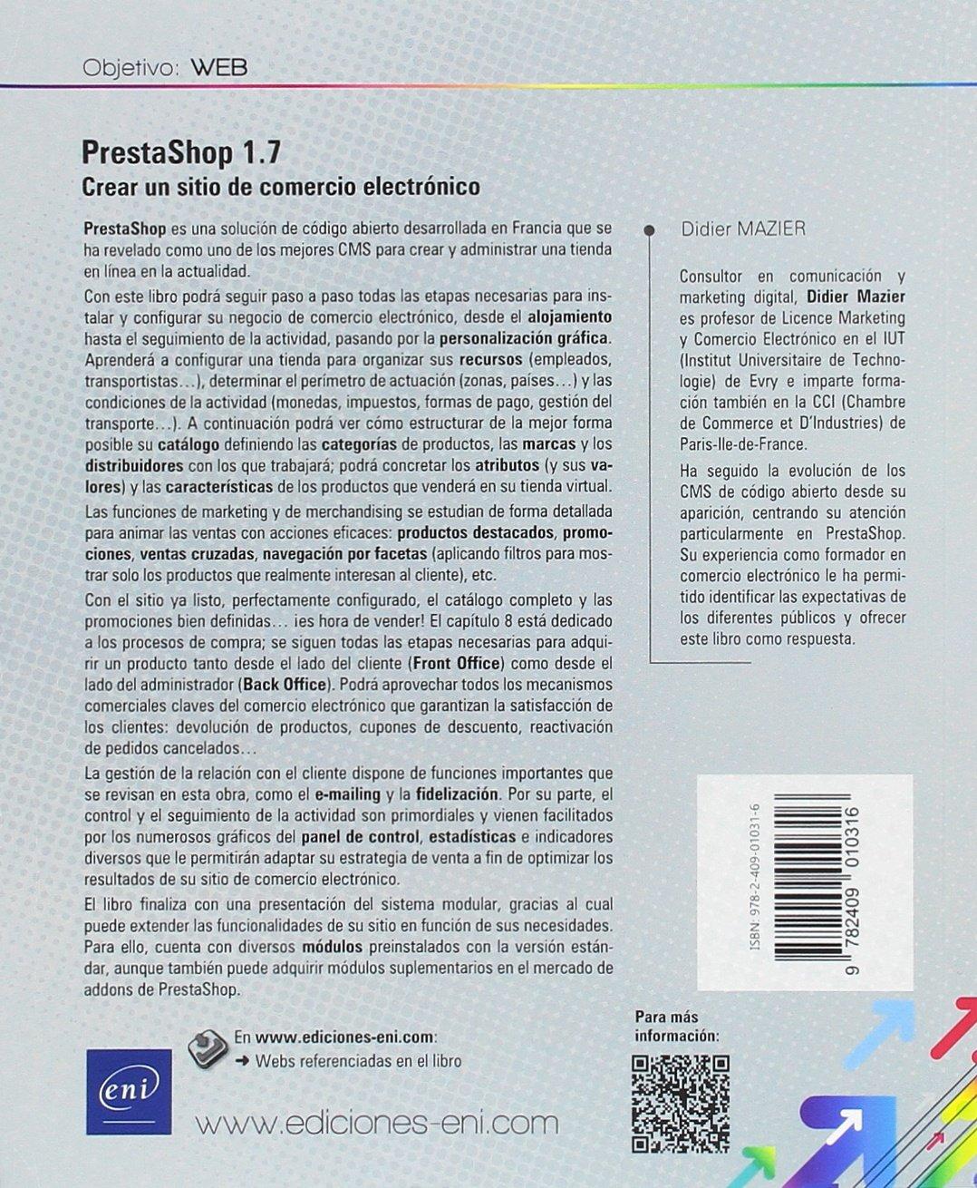 PrestaShop 1.7. Crear un sitio de comercio electrónico: Amazon.es: Didier Mazier: Libros