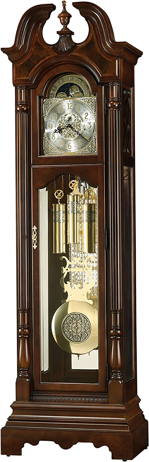 Cherry Bordeaux Grandfather Vertical Decor with Illuminated Case /& Cable-Drive Triple-Chime Movement Howard Miller Ferguson Floor Clock 547-075