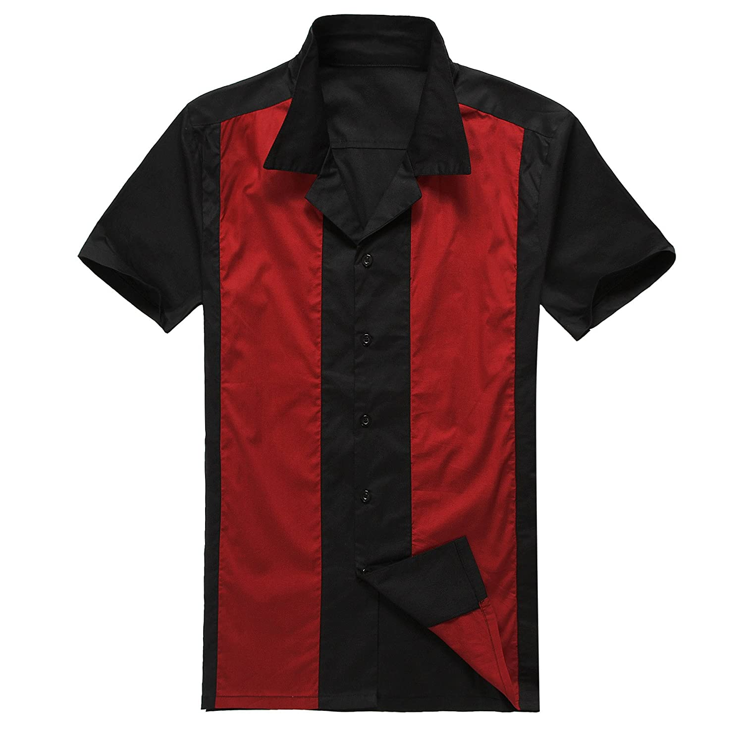 Canddow Look 50S men bowling shirt black&red vintage retro tops