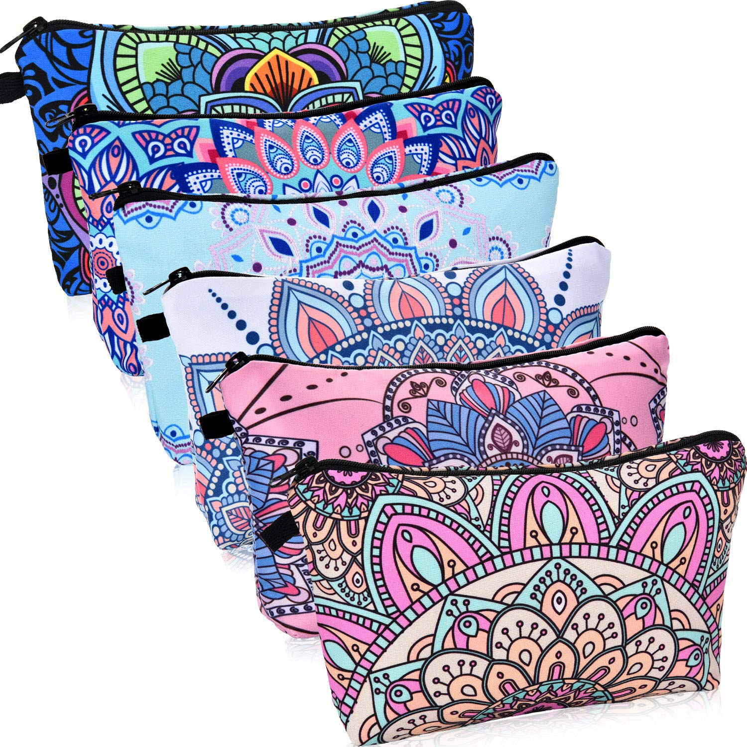 6 Pieces Makeup Bag Toiletry Pouch Waterproof Cosmetic Bag with Mandala Flowers Patterns, 6 Styles (Style 1)