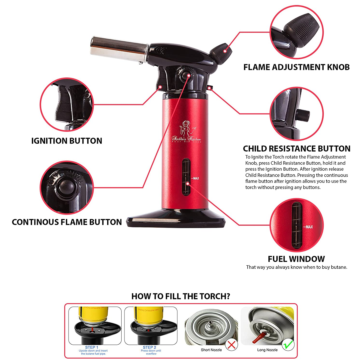 Amazoncom Kitchen Torch For Creme Brulee Culinary Torch Butane Torch Blow Torch Cooking Torch Butane