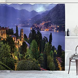 """Ambesonne Italian Shower Curtain, Lago Di Camo Lake Famous Coastal Village with Aerial View Picturesque Panorama, Cloth Fabric Bathroom Decor Set with Hooks, 75"""" Long, Green Mauve"""