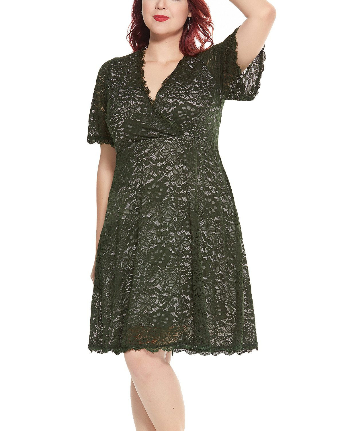 Women's Plus Size Flutter Sleeve V-Neckline Lace Flared Cocktail Party Dress Green 24W by Daci (Image #3)