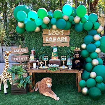 HUIBO Jungle Safari Theme Balloon Garland Arch Kit Birthday Party  Decorations 10pcs Green and Gold Balloons 10Ft Long for Kids Boys Baby  Shower