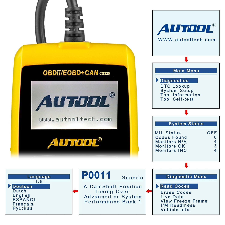 Esc/áner de diagn/óstico autom/ático para coche disposici/ón I//M y datos de estado almacenados con lector de c/ódigos de error Autool CS320/OBDII//EOBD