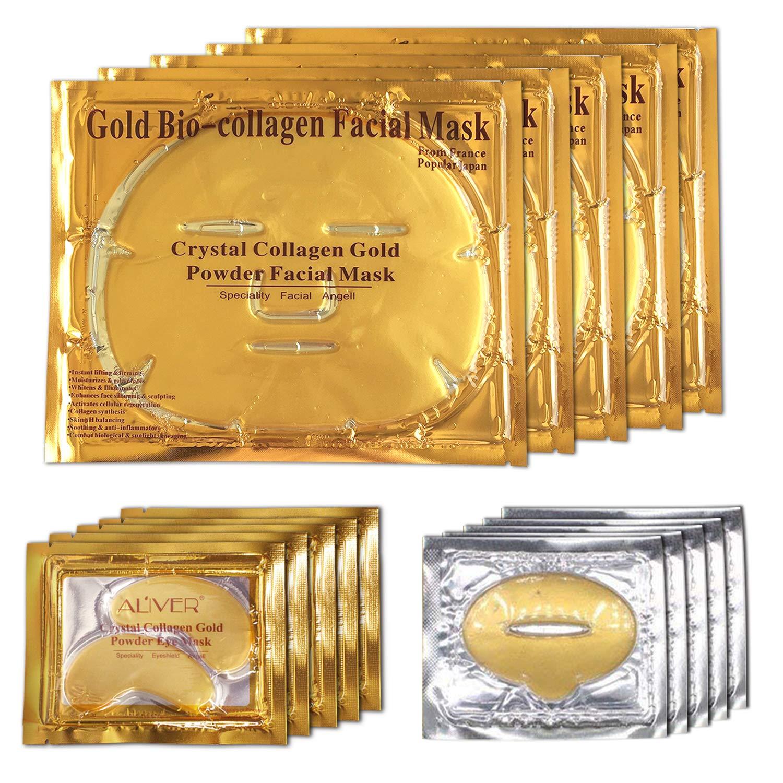Aliver 24k Gold Bio-collagen Face Facial Mask + Gold Collagen Moisturizing Neck Mask + 2pairs Gold Powder Eye Mask+ 2pcs Gold Lip Mask (2sets/package) Mouis