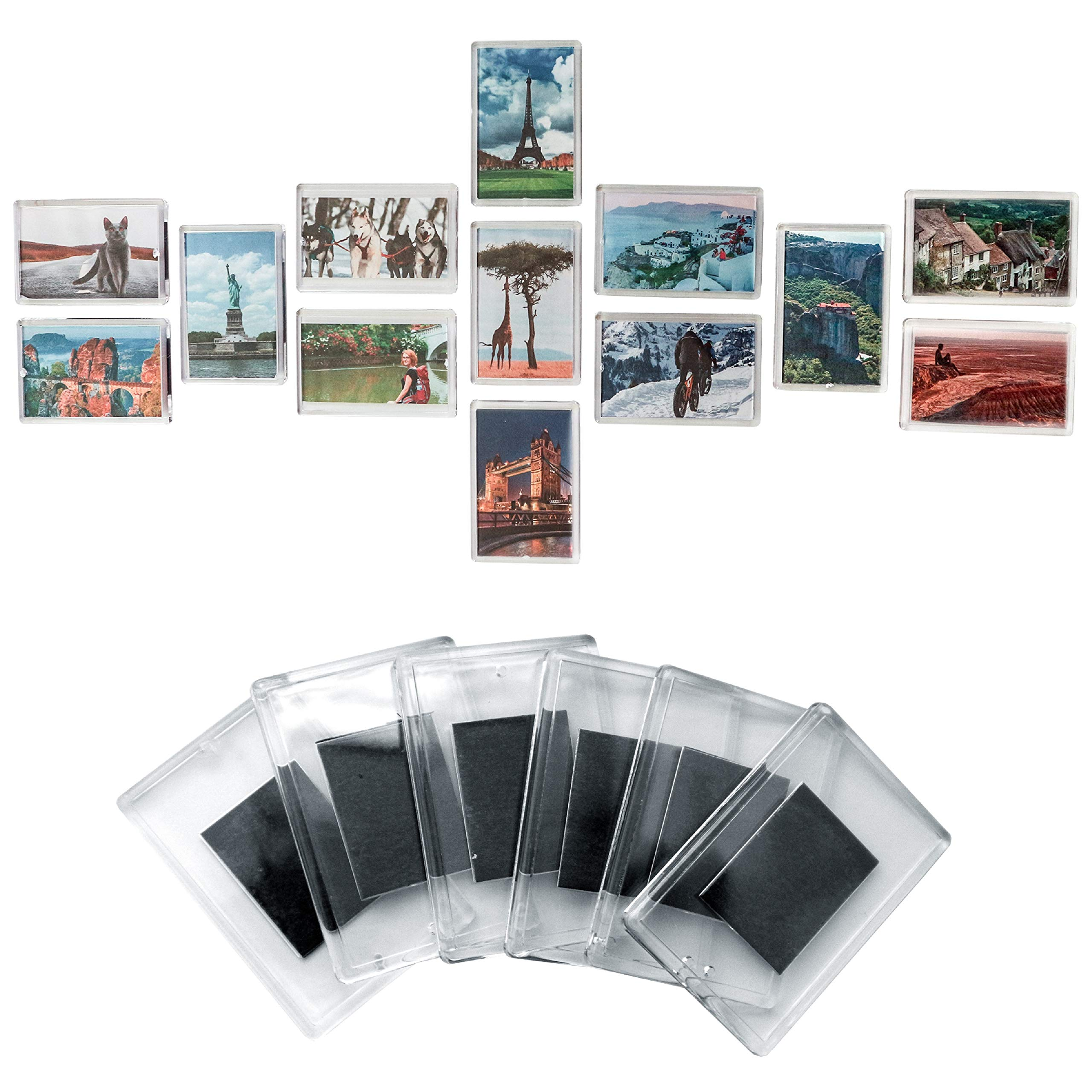 Magnetic Frame (20 Pack) - 2.7 x 1.7 inch Blank Photo Frame for Refrigerator - Clear Acrylic Frames - Fridge Magnets with Photo Insert - Magnetic Picture Frames to Display Family Photos and Art Work by Kurtzy