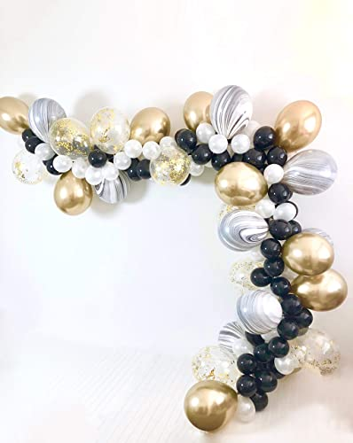 b4f4434199e Image Unavailable. Image not available for. Color  DIY Black Marble White  and Chrome Gold Balloon Garland Kit ...