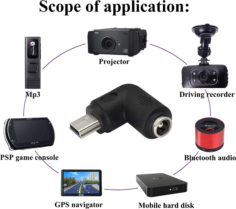 Mini lot de 2 MP3 et appareil micro USB AAOTOKK Adaptateur dalimentation Micro DC 90 degr/és DC 5,5 x 2,1 mm vers Micro USB 5 V DC Connecteur de charge pour t/él/éphone portable tablette