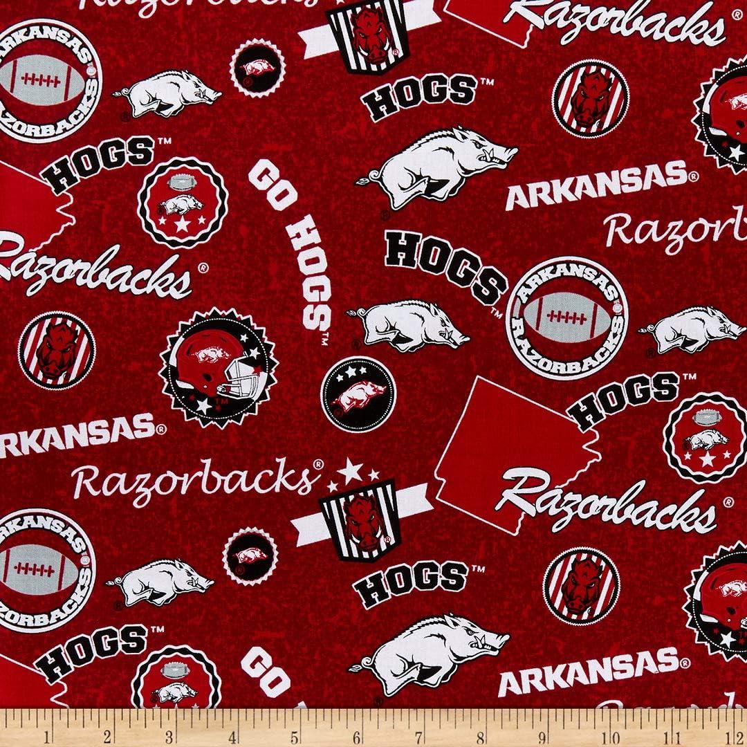 Sykel Enterprises NCAA Arkansas Razorbacks Home State Cotton Fabric, Multi