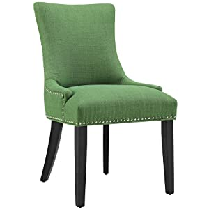 Modway Marquis Modern Upholstered Fabric Parsons Kitchen and Dining Room Chair with Nailhead Trim in Kelly Green