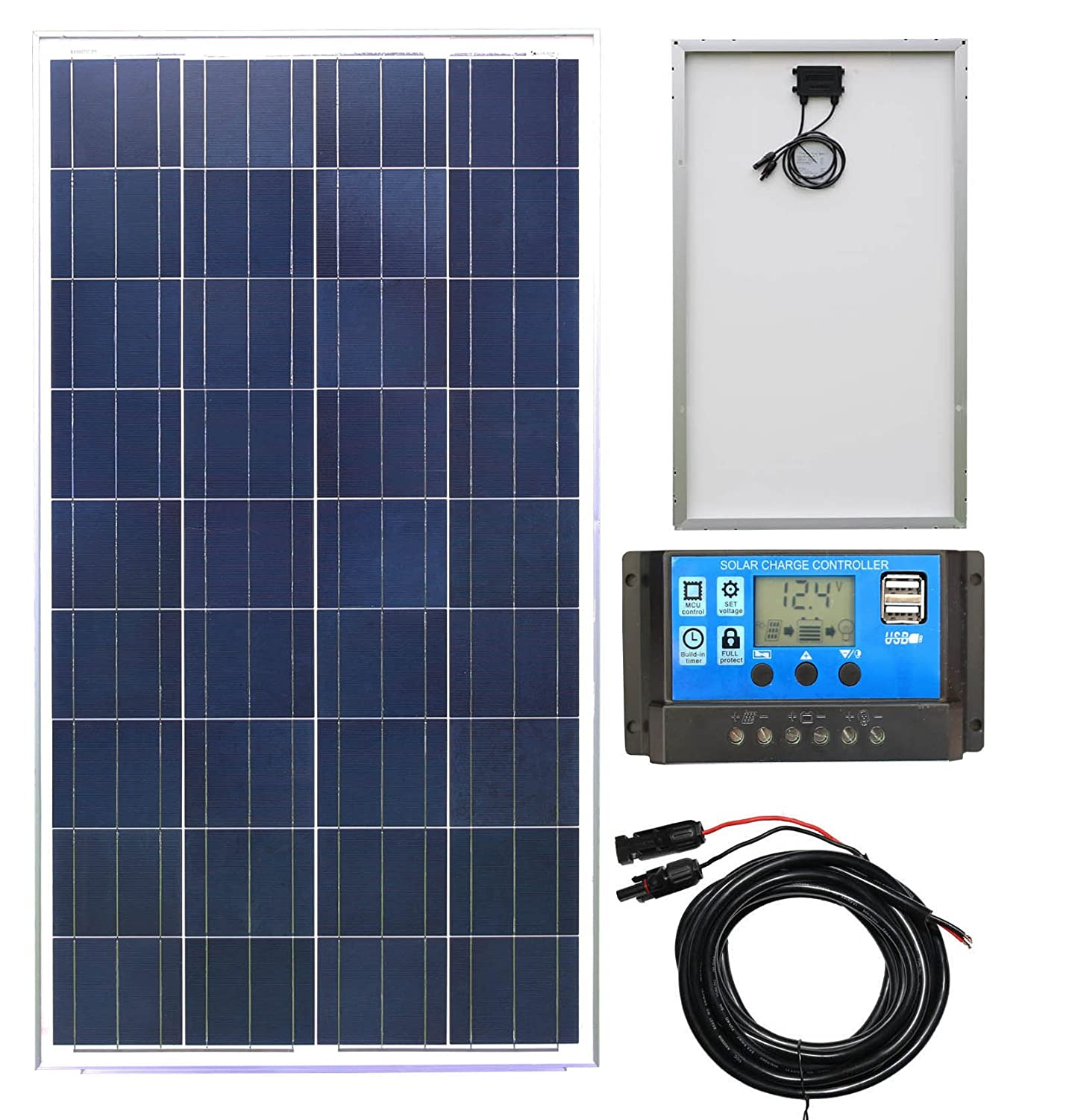 30W Poly-Crystalline Solar Panel Battery Charging Kit with Charger K1. For Caravans, Motorhomes, Boats & Any Flat Surface Lowenergie