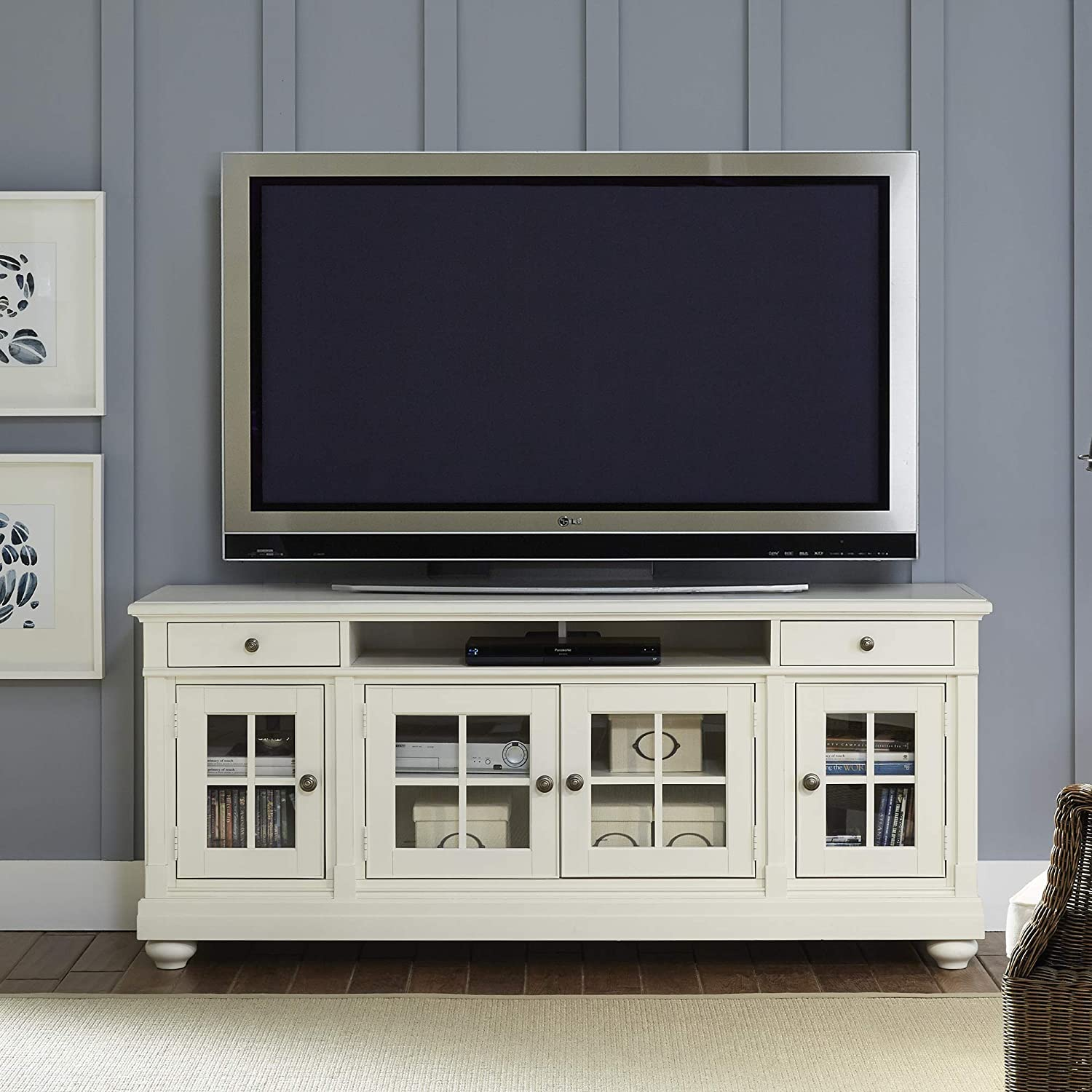 "Liberty Furniture Industries Harbor View Entertainment TV Stand, 74"" x 19"" x 32"", White"