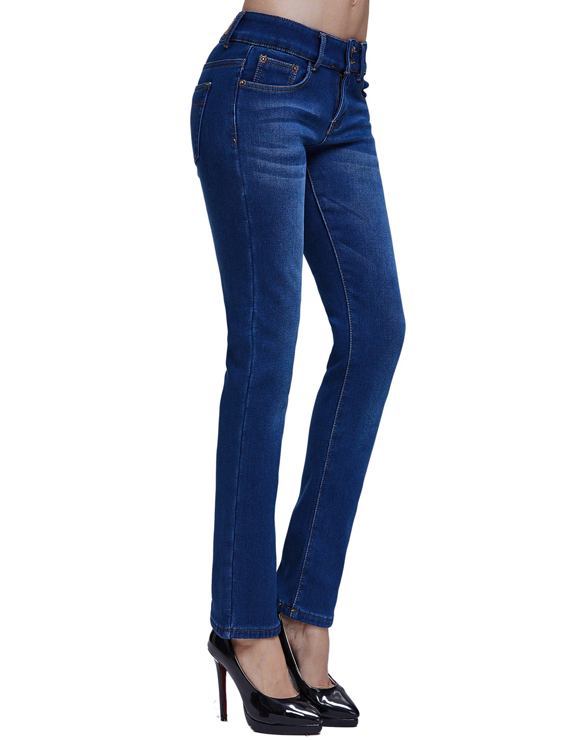 Camii Mia Women's Slim Fit Fleece Lined Jeans (W27 x L30, Blue (New Size)) by Camii Mia (Image #3)