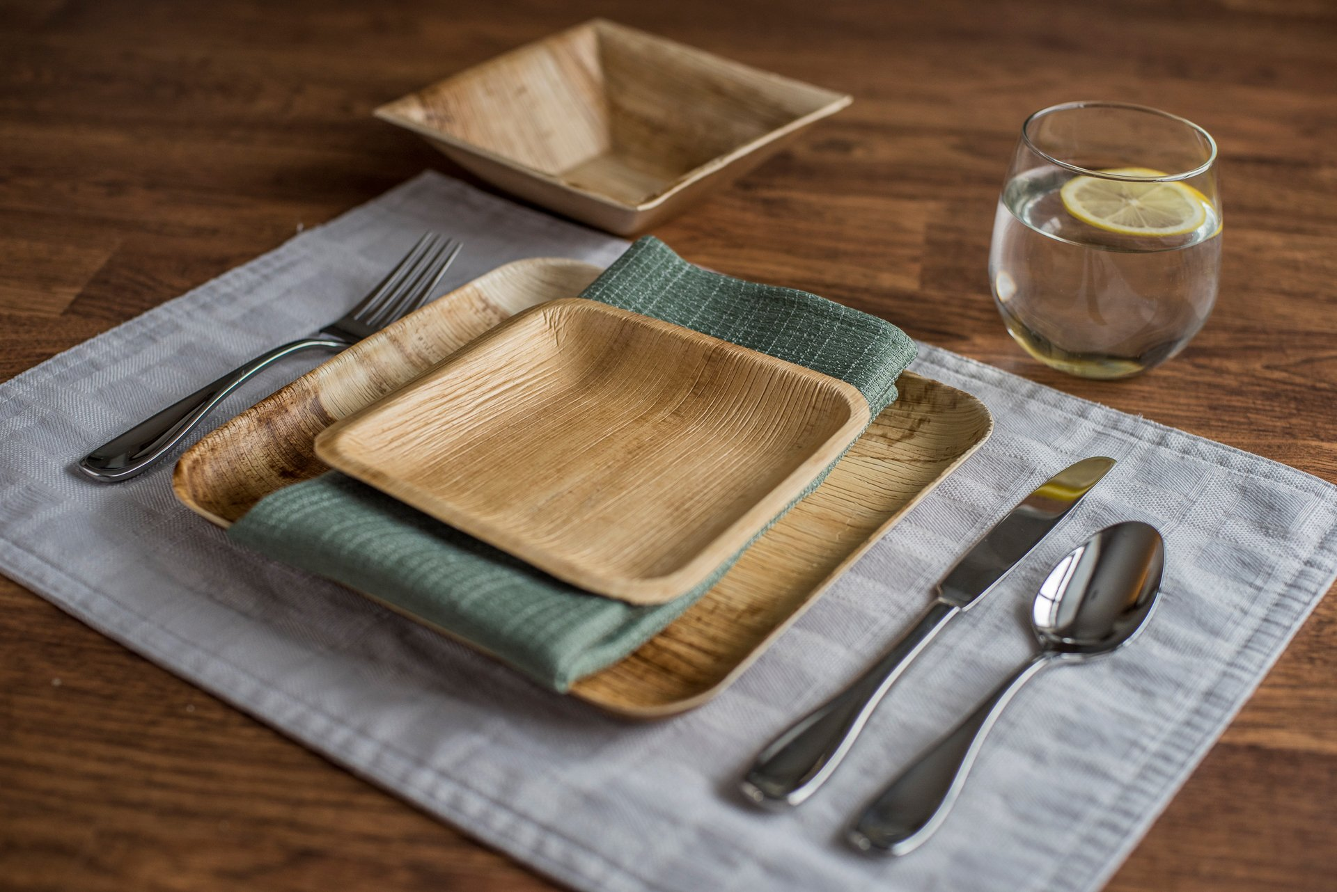 """9"""" Square Palm Leaf Plates - Pack of 25 - Disposable, Compostable, Natural, Tree Free, Sustainable, Eco-Friendly - Fancy Rustic Party Dinnerware and Utensils Like Wood, Bamboo by Clean Earth Goods (Image #5)"""