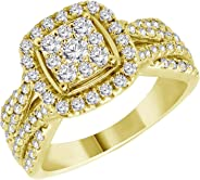 Women 1.00CT Round Natural Diamonds Halo Engagement Ring In 10K Solid Yellow Gold