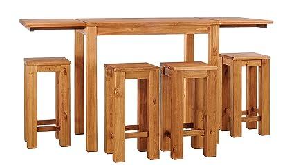 Brasilmöbel tavolo alto con piastre di fissaggio sgabelli