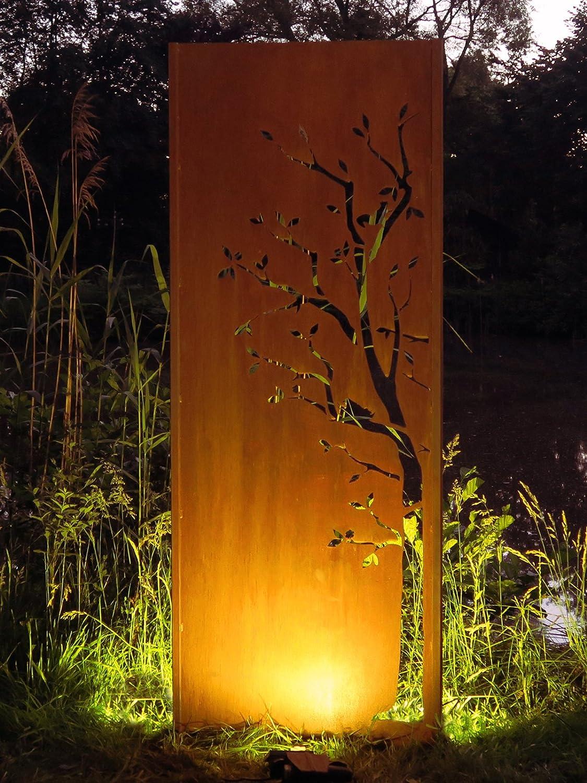 Gartenwand Sichtschutz Baum2 rost Stahl 75x195 cm
