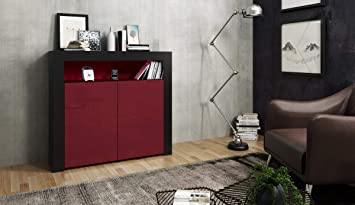 Aj Meuble Design Noir Mat Et Facade Bordeaux Laquee 107 Cm