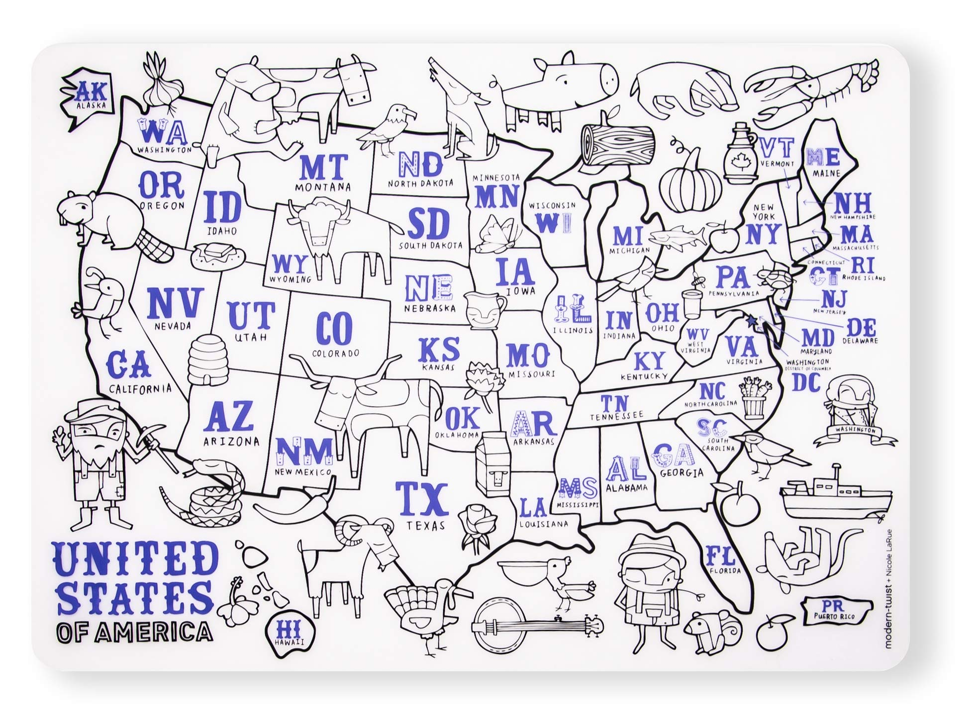modern-twist US Map Mark-Mat - 100% plastic free silicone, waterproof, dishwasher safe
