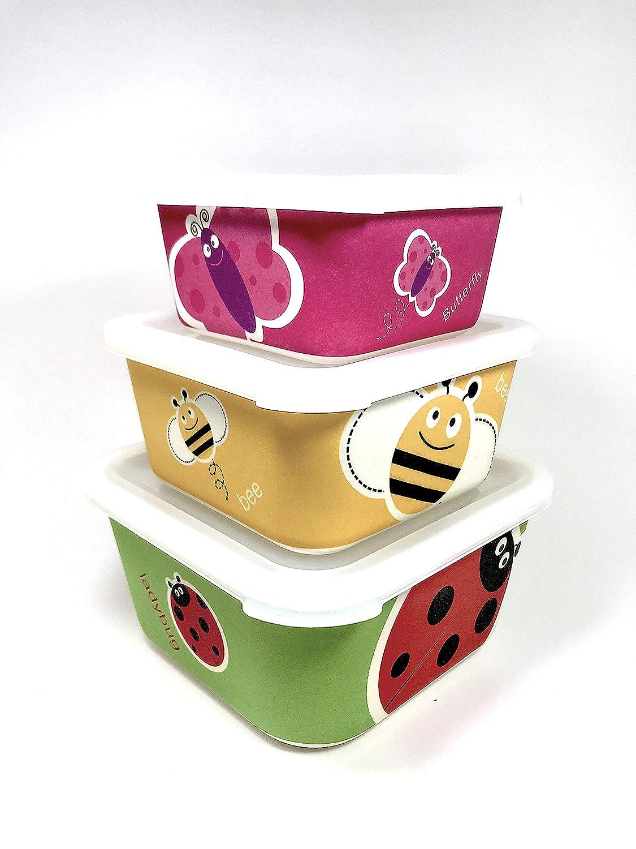 Material ecol/ógico sin BPA Conjunto 3 Tupper de bamb/ú Apto para lavavajillas Ideal para beb/é e Infantil.