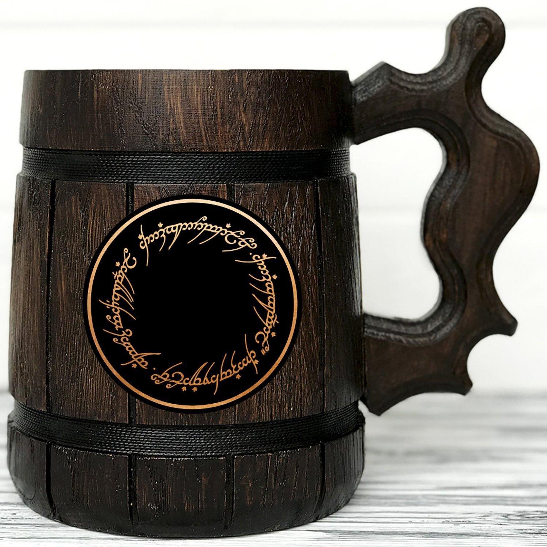 Lord Of The Rings Gifts / Wood Mug / LOTR Mug/ Lord Of The Rings Gift / Wood Beer Mug / LOTR Gift. Engraved Mug / Personal Gifts for Men / Beer Tankard K47