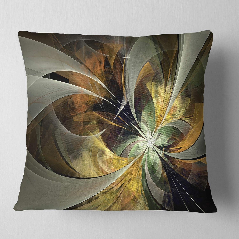 In Designart Cu12005 26 26 Symmetrical Gold Fractal Flower Floral Cushion Cover For Living Room Sofa