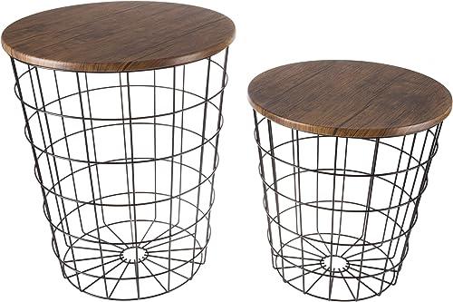 Lavish Home 80-ENDTBL-2 Set of 2 Nesting End Storage Convertible Round Metal Basket Wood Veneer Top Accent Side Tables, Black Renewed