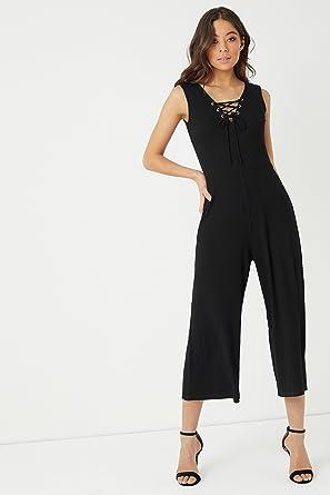7d5336cac87125 Lipsy Femme Combinaison Style Jupe-Culotte à Lacets Noir EU 42 (UK ...
