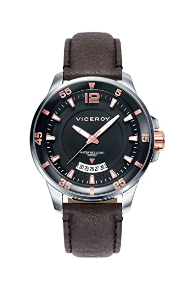 Watch Viceroy 42221-55 Black Male Leather Calendar
