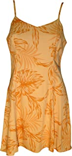 product image for Paradise Found Womens Monstera Palm Princess Seam Mini Sundress in Orange Mango - L