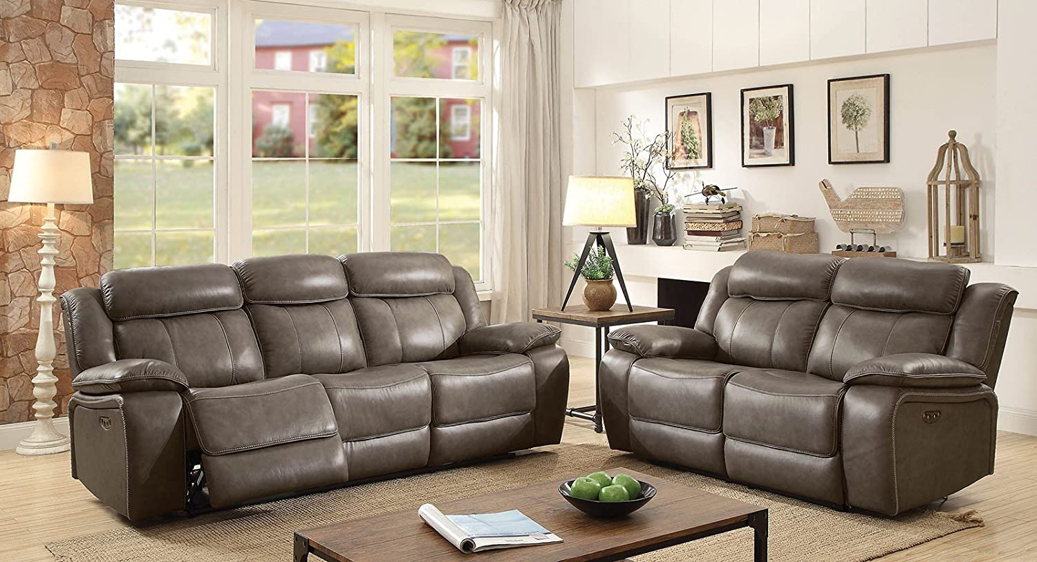Amazon com page contemporary top grain leather gray sofa 3pc set reclining cushion couch living room furniture kitchen dining