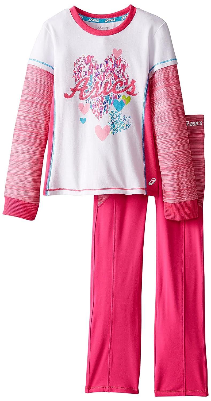 ASICS Little Girls' 2 Piece Cascade Set, Pink Glow, 6 ASICS Girls 2-6x 00-K6TSMW-SD
