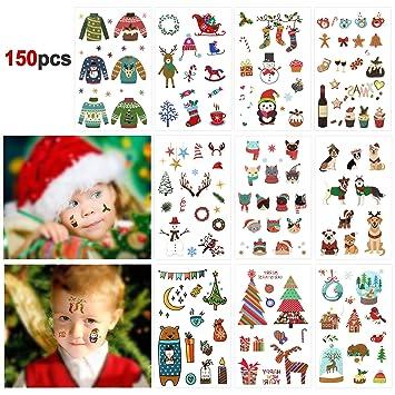 Howaf Navidad Tatuajes Temporales para Niños Niñas, 150pcs ...