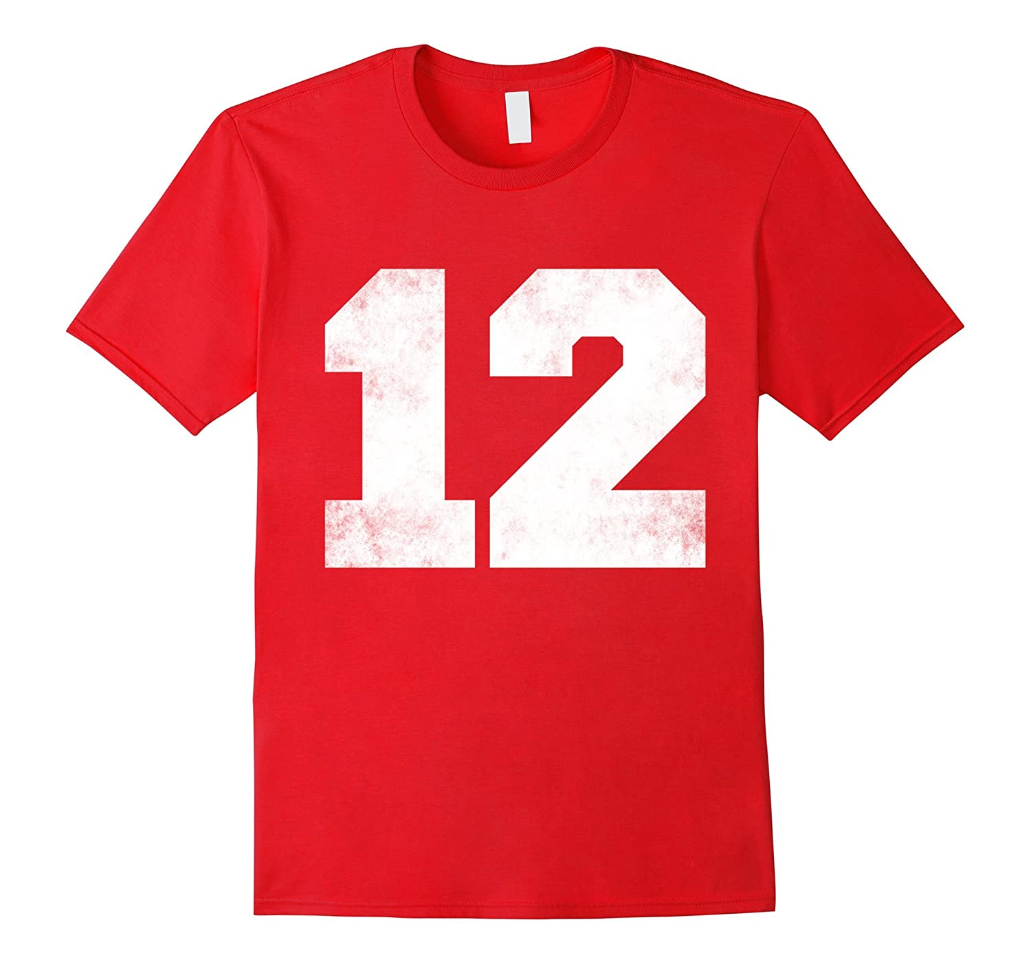 Big Distressed Number 12 Twelve Numeric Digits T-shirt-CD