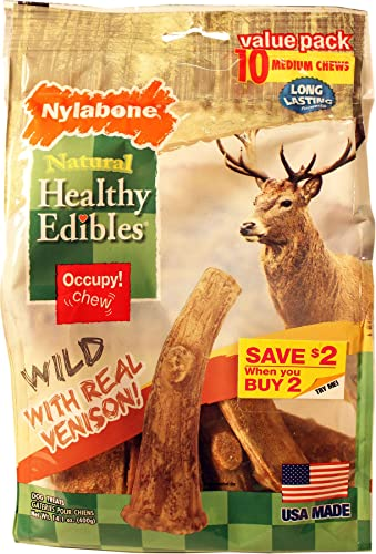 Nylabone Healthy Edibles Wild Antler Chews – Venison Medium – 10 Pack – Pack of 6