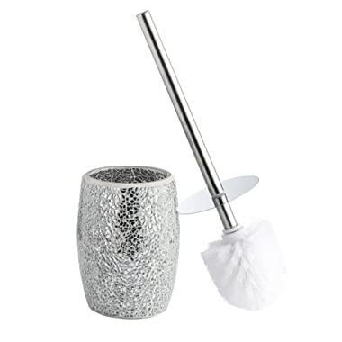 Whole Housewares Bathroom Accessories Toilet Brush Set - Toilet Bowl Cleaner Brush and Holder (Silver)