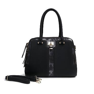 Satispac Women s Point Leather Boutique Satchel Tote Bag (Black ... 07a099d08