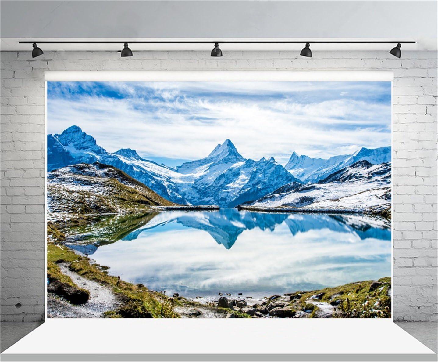 AOFOTO 15x8ft Vinyl Alps Mountain Landscape Backdrop Switzerland Spring Travel Natural Scenery Grassland Snow Mountains Peak Range Lake Background Poster Banner Tour Vacation Photos Prop
