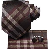 Hi-Tie Blue Necktie for Men with Pocket Square and Cufflinks