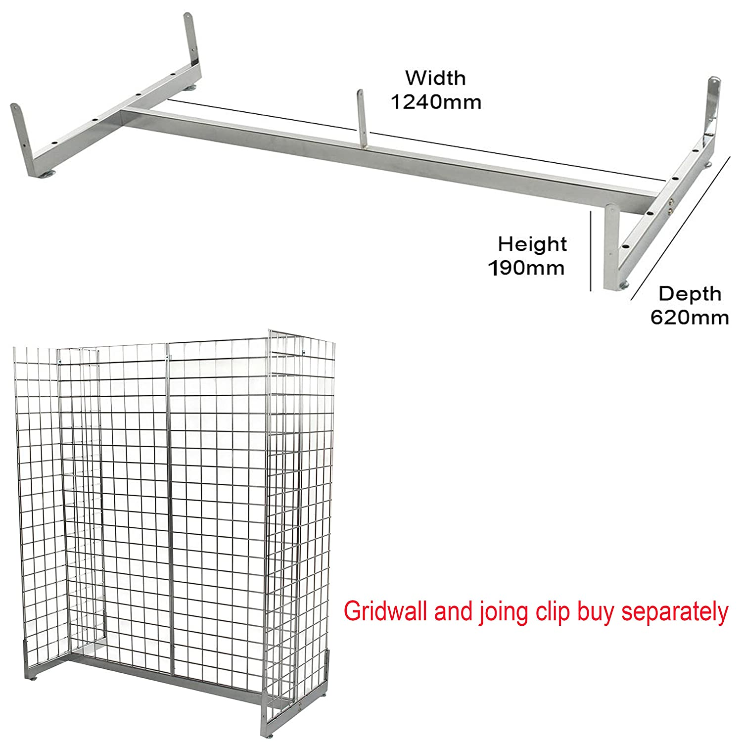 """10x 12/"""" STRAIGHT ARM SQUARE WITH A BALL,GRIDWALL//GRID WALL MESH CHROME ACCESSORY"""