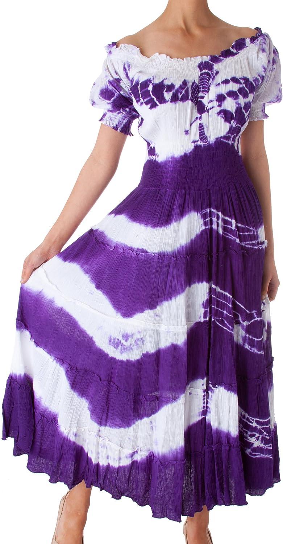 Sakkas 2-Tone Tie Dye Cap Sleeves Smocked Waist Tiered Guazy Long Dress