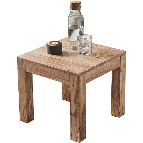 WOHNLING Couchtisch Massiv-Holz Akazie 45 cm breit Wohnzimmer-Tisch Design  braun Landhaus-Stil Beistelltisch Natur-Produkt Wohnzimmermöbel Unikat ...
