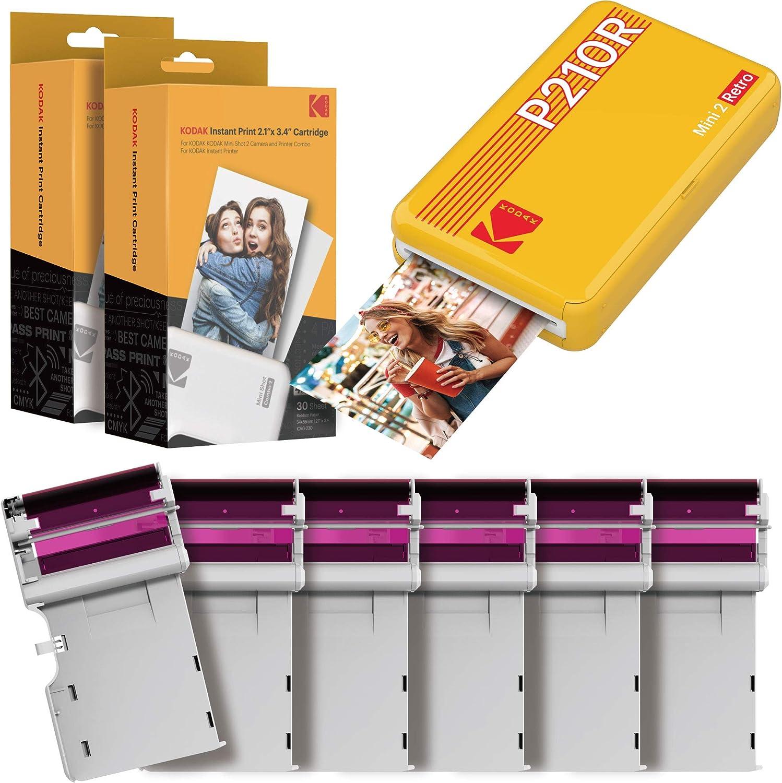 """Kodak Mini 2 Impresora Fotográfica Instantánea Portátil Retro, Conexión Inalámbrica, Compatible Con Ios, Android Y Bluetooth, Foto Real 2.1 """"X3.4"""", Tecnología 4Pass – Paquete de 60 Hojas – Amarillo"""