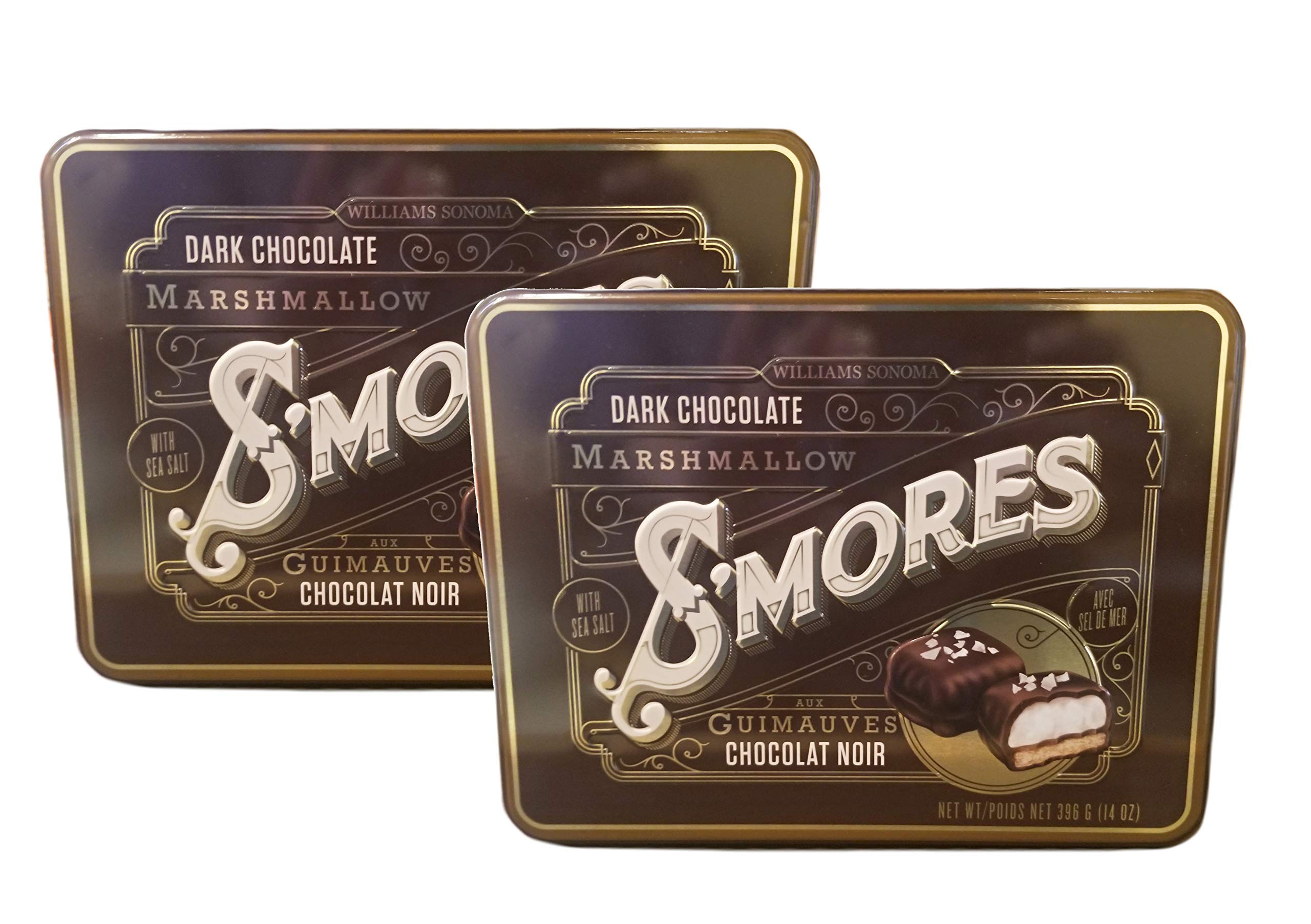 Williams Sonoma Dark Chocolate S'mores with Sea Salt Guittard Gourmet Sweets: 2 Pack - 14 oz. Tins by FCV