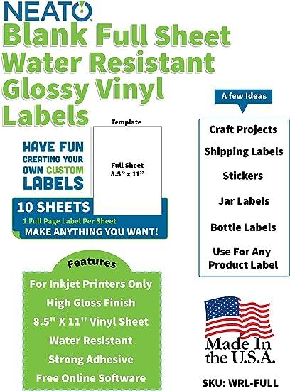 Neato Printable Glossy Vinyl Sticker Paper 10 Piece 8 5 X 11 Blank Custom Label Sticker Sheet Set For Inkjet Printer Tear Free White Adhesive