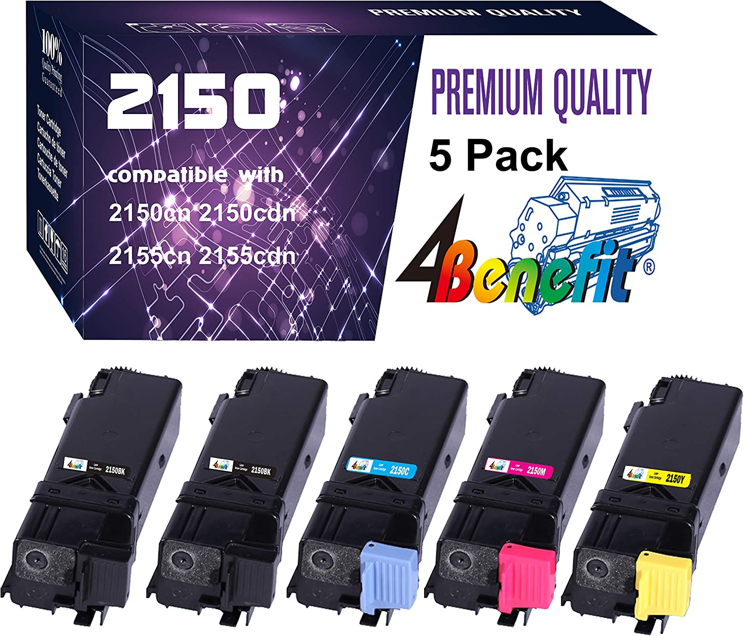 5-Pack(2 Black+1 Cyan+1 Magenta+1 Yellow) Compatible 2150 2155 2FV35 Toner Cartridge Used for Dell 2150 2150CDN 2150CN 2155 2155CDN 2155CN Printers, by 4Benefit