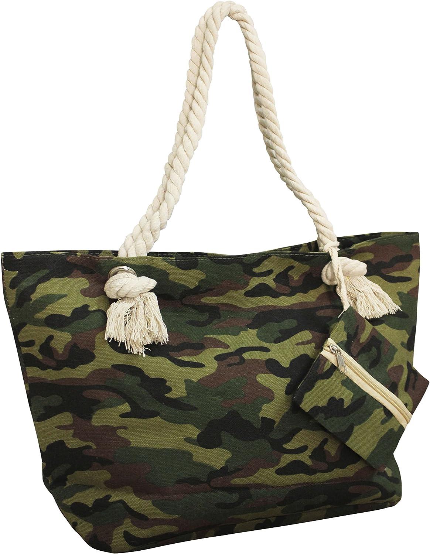 FERETI Bolso De Playa Camuflaje Lona Tela Militar Ejército Cuerdo Bebe Hombro Verano Mujer