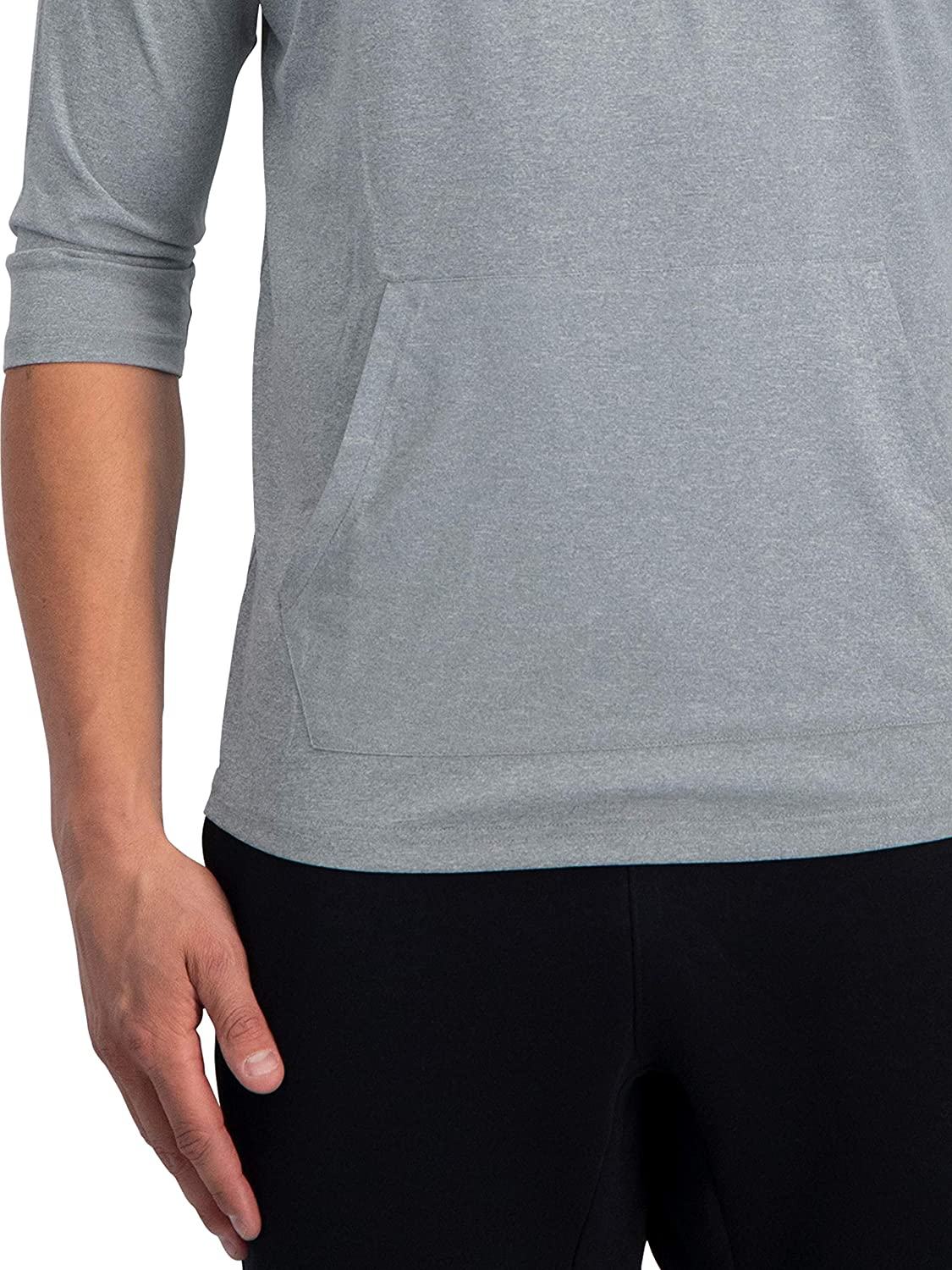 Dry Fit Workout Hoodies for Gym and Running Grey 3//4 Sleeve Lightweight Hoodie Men